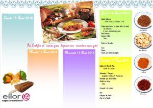 Menu du 17 au 18 Aout 2016