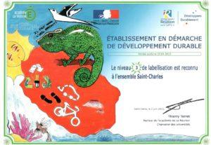 Labellisation E3D Etablissement en Démarche global de Développement Durable.