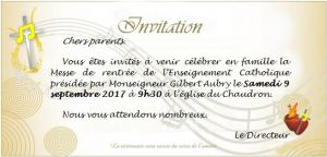 Carton invitation messe de rentrée